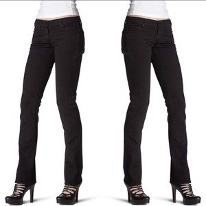7For All Mankind Straight Leg Black Jeans Size 28